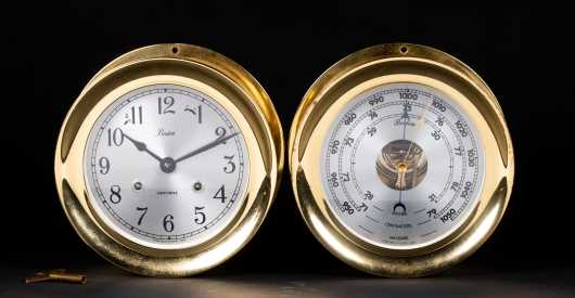 Pair of Chelsea Brass Wall Clock and Barometer