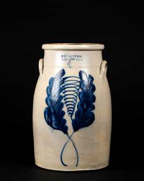 F.B. Norton & Co Blue Flower Decorated Butter Churn