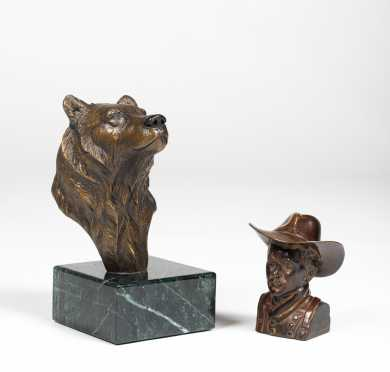 Two Bronze Castings of a Grizzly Bear and Cowboy