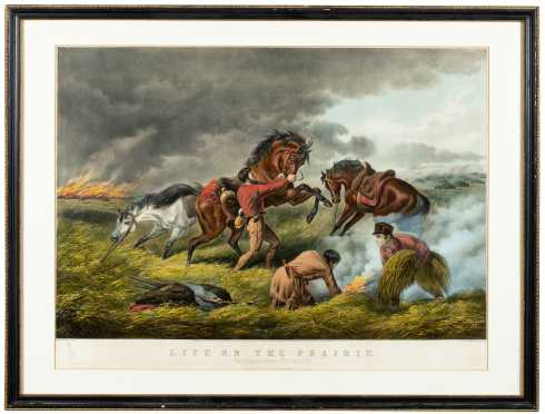 "Currier and Ives Colored Print ""Life on the Prairie"", ""The Trappers de Fence"" ""Fire Fight Fire"""