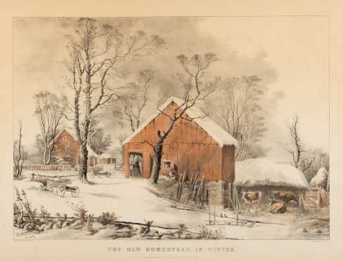 "Currier and Ives Colored Print ""Old Homestead in Winter"""