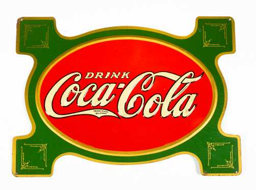C1914 Coca Cola Enamel on Tin Advertising Sign