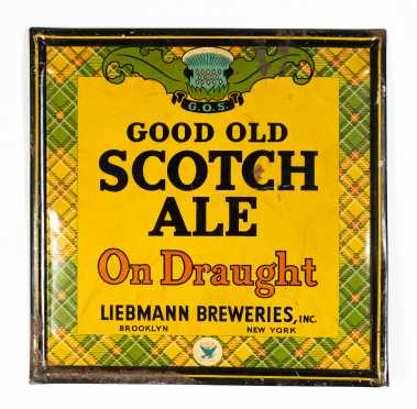 "C1930s ""Good Old Scotch Ale"" Enamel on Tin Sign"