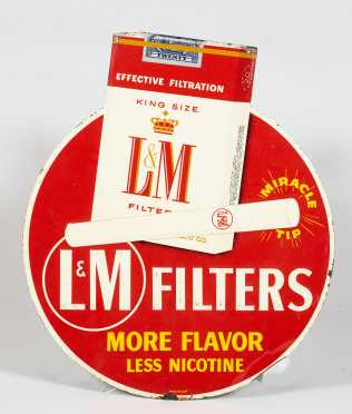 """L & M"" Filter Cigarette Enamel on Tin Advertising Sign"