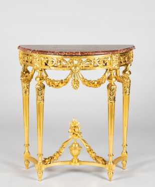 Small French Marble Top Gilded and Carved Console Table