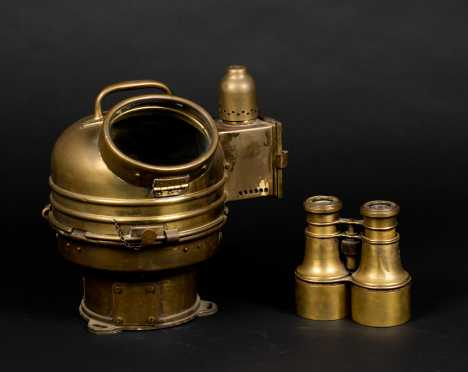 "Brass Lifeboat Binnacle and ""Bardou & Son"" Binoculars"