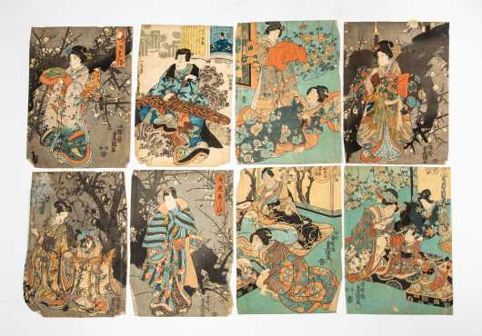 Eight Vintage Japanese Block Prints