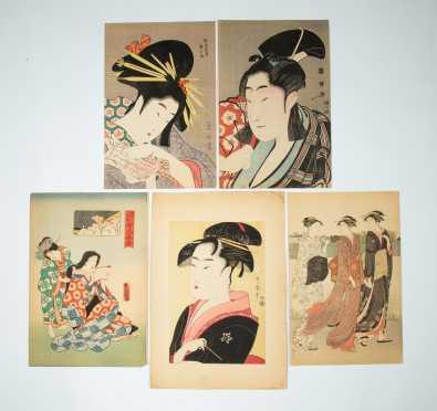 Five Vintage Japanese Block Prints of Women