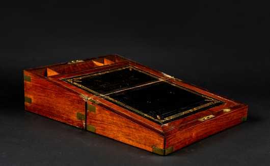 English Mahogany Campaign Desk Box with History