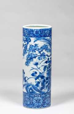 Chinese Blue and White 19thC Umbrella Stand