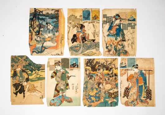 Seven Vintage Japanese Block Prints of Women