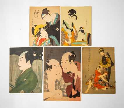 Lot of Five Japanese Block Prints