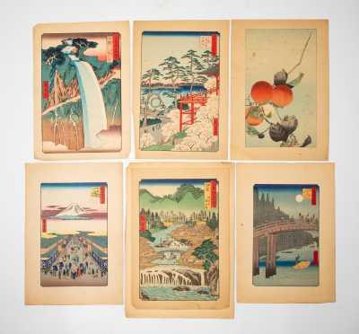 Six Vintage Japanese Block Prints