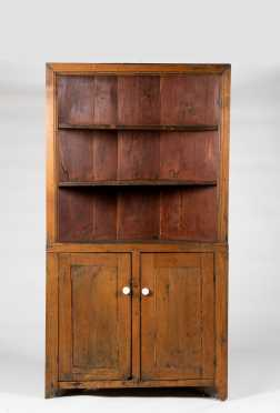 New England Open Top Corner Cupboard