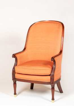 """Kindel"" Fine Furniture Upholstered Sheraton Wing Chair"