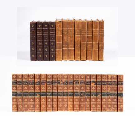 """Three Leather-Bound Book Sets: """"Complete Works of Lord Macaulay,"""" 20 vols."""