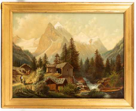 Mary Grennan Oxford OH, Primitive American Mountain Landscape Painting