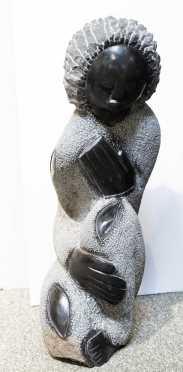 South African Granite Sculpture of a Kneeling Figure