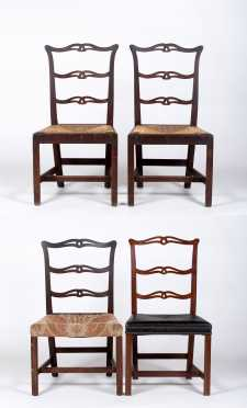 Assembled Set of Four American Chippendale Side Chairs