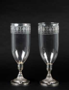 Pair of Sheffield Silver Hurricane Shade Candlesticks