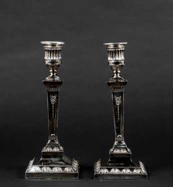 "Pair of ""Sheffield"" Silver Candlesticks"