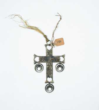 Native American Trade Silver Decorated Cross