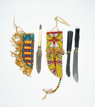 Two Native American Beaded Knife Sheaths