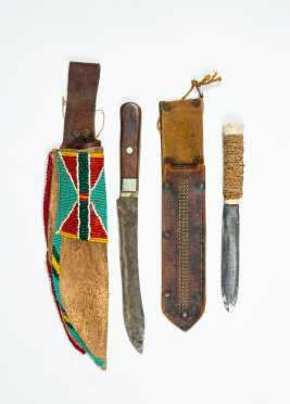 Two Native American Decorated Knife Sheaths