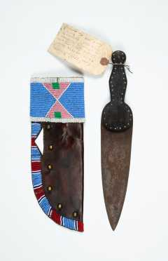 Native American Leather and Bead Decorated Knife Sheath