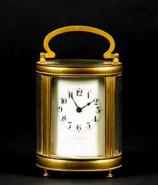 Oval French Brass Carriage Clock