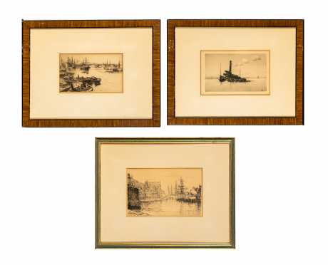 Three Framed Etchings- E20thC