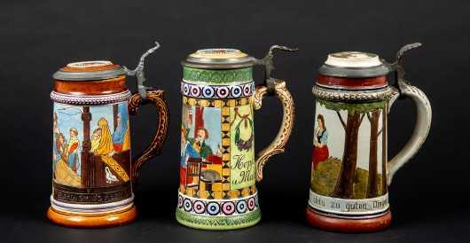 Three German Half Liter Steins