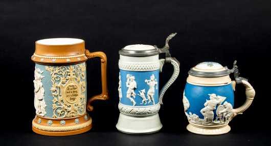 """Three German """"Mettlach"""" Beer Steins"""