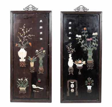 Important Pair of Chinese Jade Inlaid Black Lacquer Panels *AVAILABLE FOR REASONABLE OFFER*