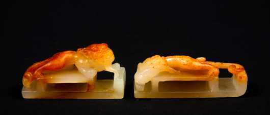 Pair of 19thC Chinese Russet and Pale Yellow Nephrite Belt Slides