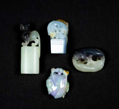 Four Chinese Lavender Jadeite Carved Figures
