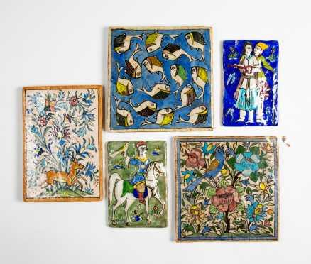 Lot of Five 20thC Persian Tiles