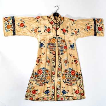 Antique Chinese Light Gold Needlework Robe
