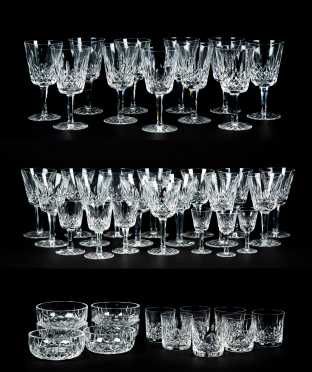 """Fifty-One """"Waterford-Lismore"""" Glassware Pieces"""