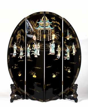 L20thC Chinese Four Panel Circular Screen