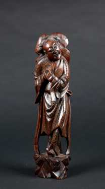 Japanese E20thC Inlaid Figural Wood Carving