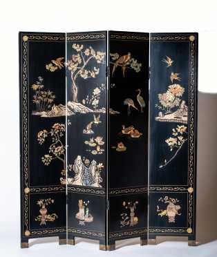 20thC Chinese Four Panel Folding Screen