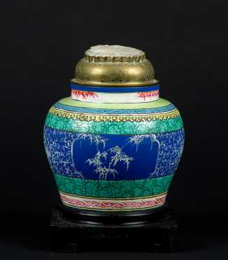 Chinese Pottery Ginger Jar with Brass and Carved Soapstone Lid