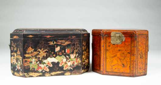 Two Chinese Export Octagonal Lacquer Decorated Boxes