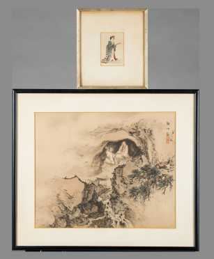 Two Chinese Watercolor Paintings on Silk
