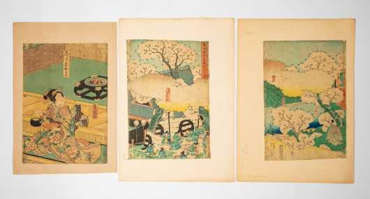 Three Japanese Block Prints After Utagwa Toyokuni