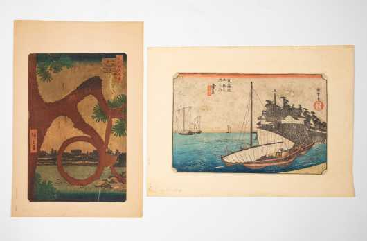Two Japanese Block Prints After Utagawa Hiroshige