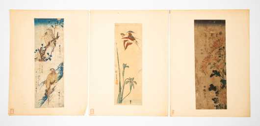 Three Chinese Watercolor Paintings of Birds and Flowers