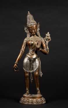 Antique Tara Hindu Goddess Figure in Silver and Copper