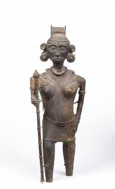 "An Antique Pre Columbian Style Bronze Warrior Figure. Height: 26"""